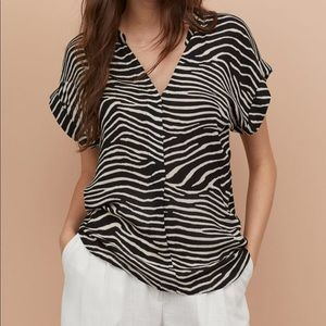 Brand New H&M Zebra Print Crinkled Blouse